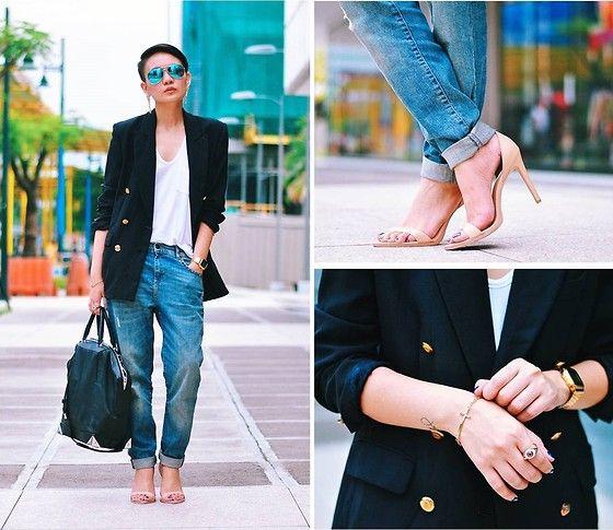 Nude Heels, Evil Eye Ring, Casio Gold Watch, Cross Bracelet, Alexander Wang Emile Tote, Boyfriend Blazer, Boyfriend Jeans