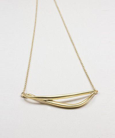 Gold Horizontal Twist Pendant Necklace. $ 24.00