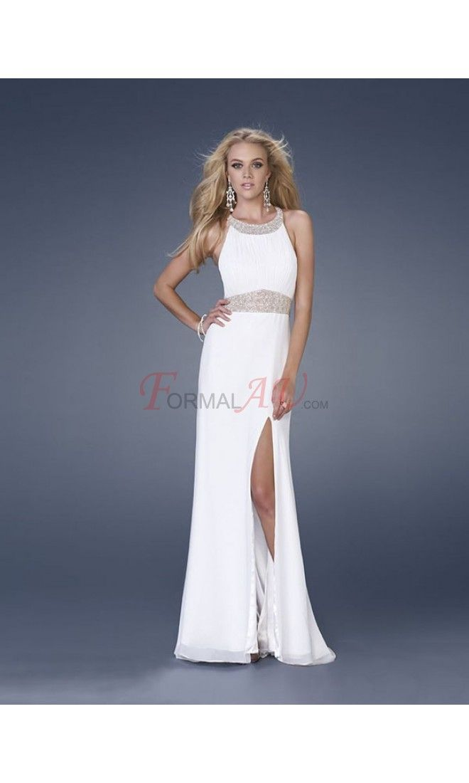 Sheath Scoop Chiffon Formal Dresses/Long Evening Dresses with Beading Ruffles FAU1404P801920 - Formalau.com