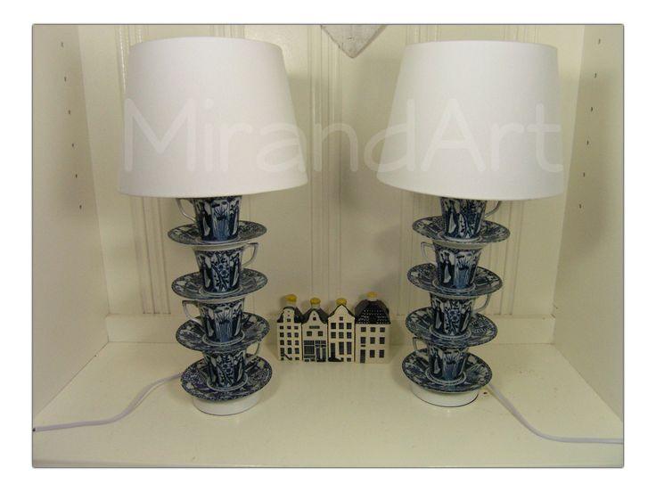 Servies lamp  Lange lijs kop en schotels gemaakt tot lampen
