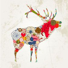 COLOURFUL ABSTRACT DEER WALL ART CANVAS PRINT - STRETCHED - READY TO HANG !!