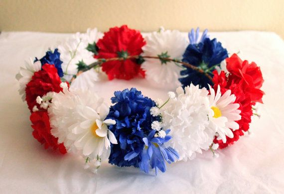 Red White and Blue Flower Crown July 4th by GardenoftheAngels