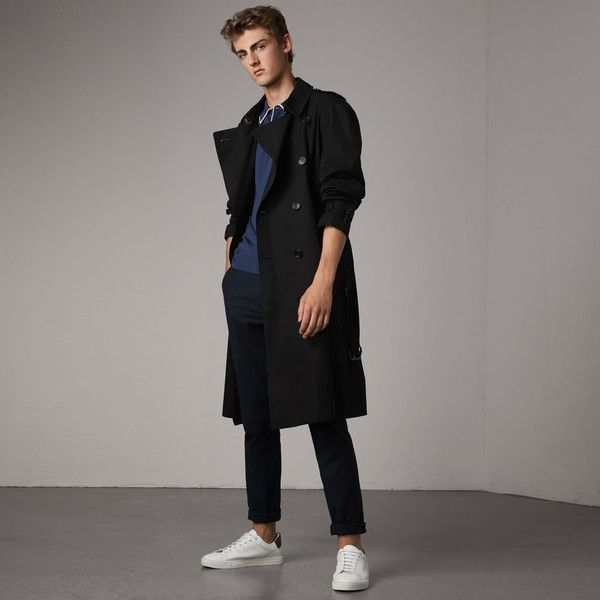 Burberry The Westminster - Extra-long Trench Coat ($1,935) ❤ liked on Polyvore featuring men's fashion, men's clothing, men's outerwear, men's coats, mens trench coat, burberry mens coat and mens belted trench coat
