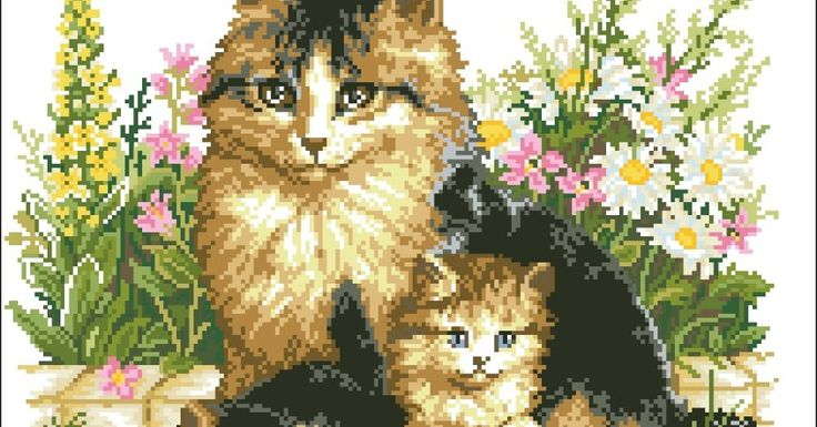 Mother cat - Counted cross stitch patterns and charts