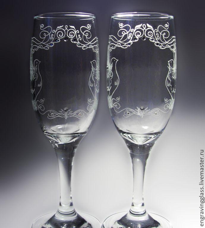 Купить Свадебные бокалы гравировка Голуби. - свадьба, бокалы для свадьбы, бокалы для молодоженов, бокалы для шампанского