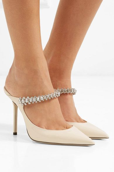be9c0b0c542 Jimmy Choo - Bing 100 Crystal-embellished Patent-leather Mules ...