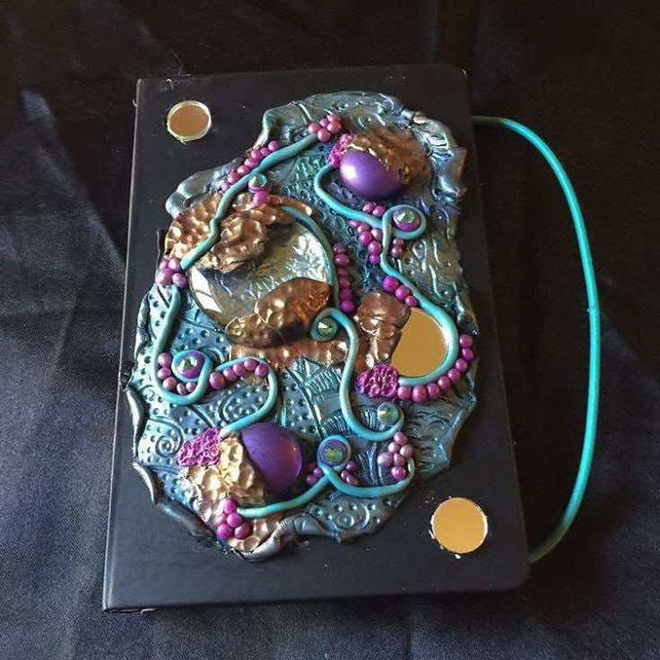 Polymer Clay Journal Cover with mirror accents