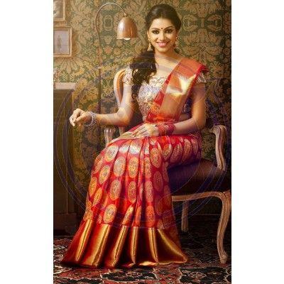 Red Kanchipuram Wedding Silk Saree The Chennai Silks