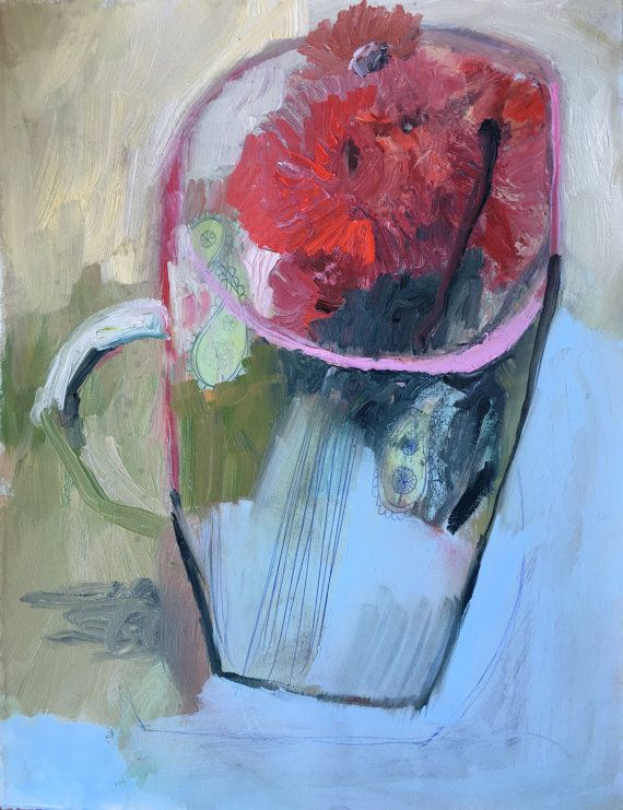 Red Flowers Original oil painting on arches paper by BrookeWandall