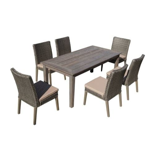 Delacora DF 6114 BAS 7 Piece Outdoor Dining Set With Rectangular Wooden  Table