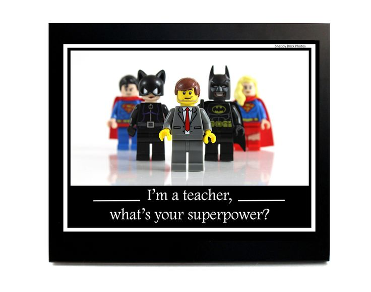 """Teacher Appreciation gift LEGO® photography minifigures superheroes digital file saying, """"I'm a teacher, what's your superpower?"""" digital       Art & Collectibles Photography Color Lego print photograph art minifigure present batman stock photography printable instant download teacher gift appreciation male"""