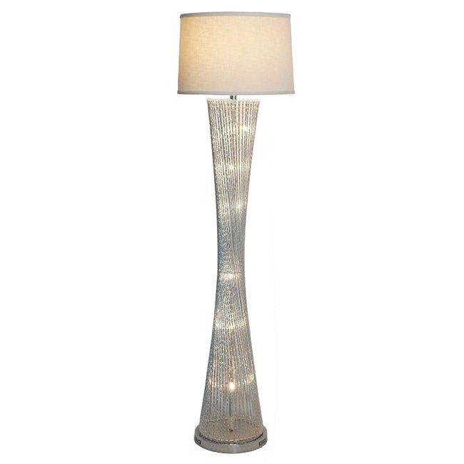 Chrome Spiral Base Floor Lamp Lamp Floor Lamp Linen Shades