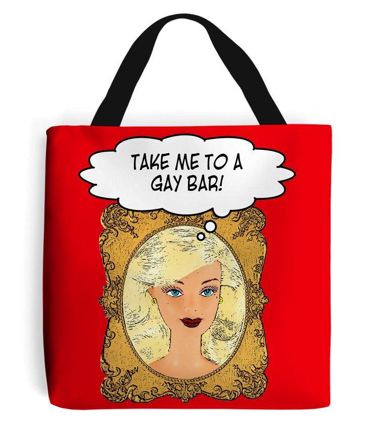 Take Me To A Gay Bar Tote Bag #datenight #mirror #dreams #LGBT #gayinterest at: www.plasticpam.com