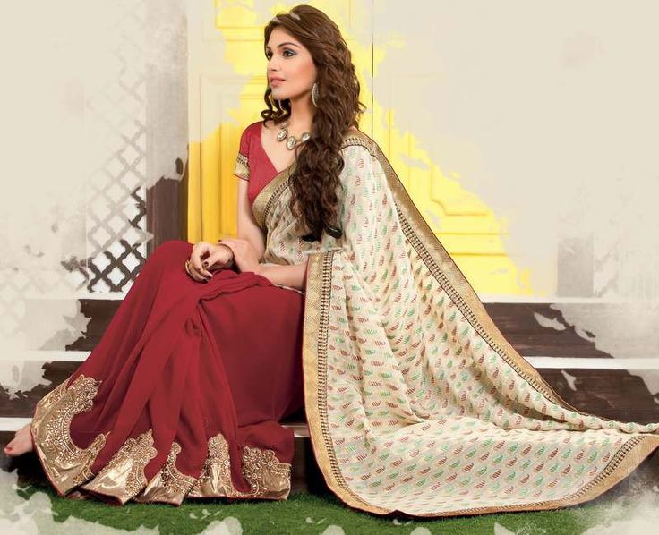 Cream And Maroon Color Half Georgette And Half Bhagalpuri Special Occasion Sarees http://www.shopcost.in/saree