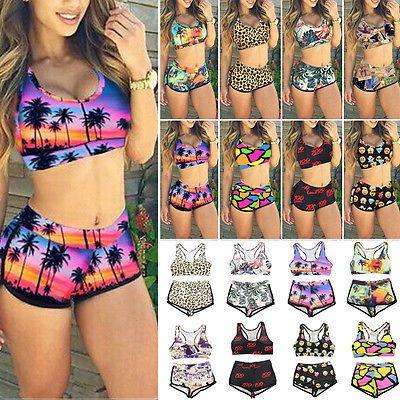 42ad8d276 Mujer Set De Bikini Top Corto Pantalones cintura alta Floral Bañador ...
