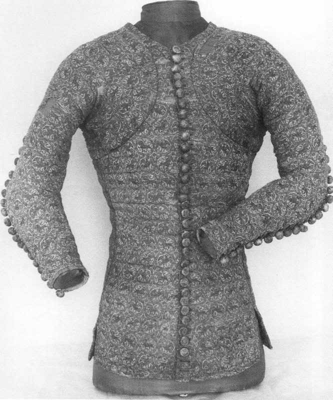 13050-1400 - De doublet of pourpoint is een kledingstuk gedragen door mannen in de Middeleeuwen en de Renaissance. Het is een soort van kort en gewatteerd jasje dat het bovenlichaam bedekt van de hals aan de riem.