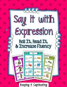 Say it with Expression: A fluency center center for repeated reading, using the reading material of your choice. {ex. poetry, sentence strips, readers, sight words...}