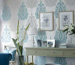 Yes grey and turquoise damask wallpaper retail for Silver accent wallpaper