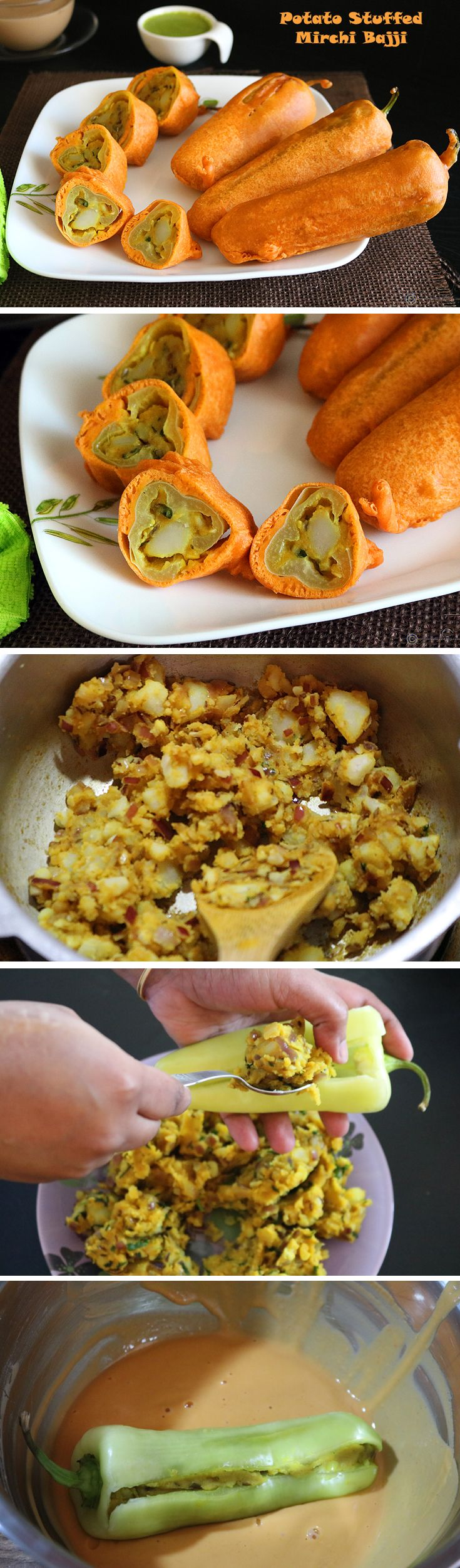 Potato Stuffed Mirchi Bajji | Milagai Bajji | Banana Pepper Fritters - A super delicious Indian snack perfect for a cool fall / winter evening. A yummy potato masala stuffed inside banana peppers, dip in a gram flour batter and deep fried until golden brown.