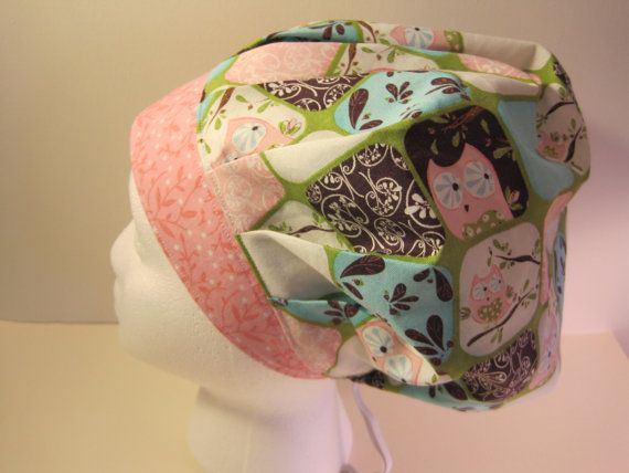 Owl Bouffant Scrub Hat surgical cap nurses scrub hat by sewingzen