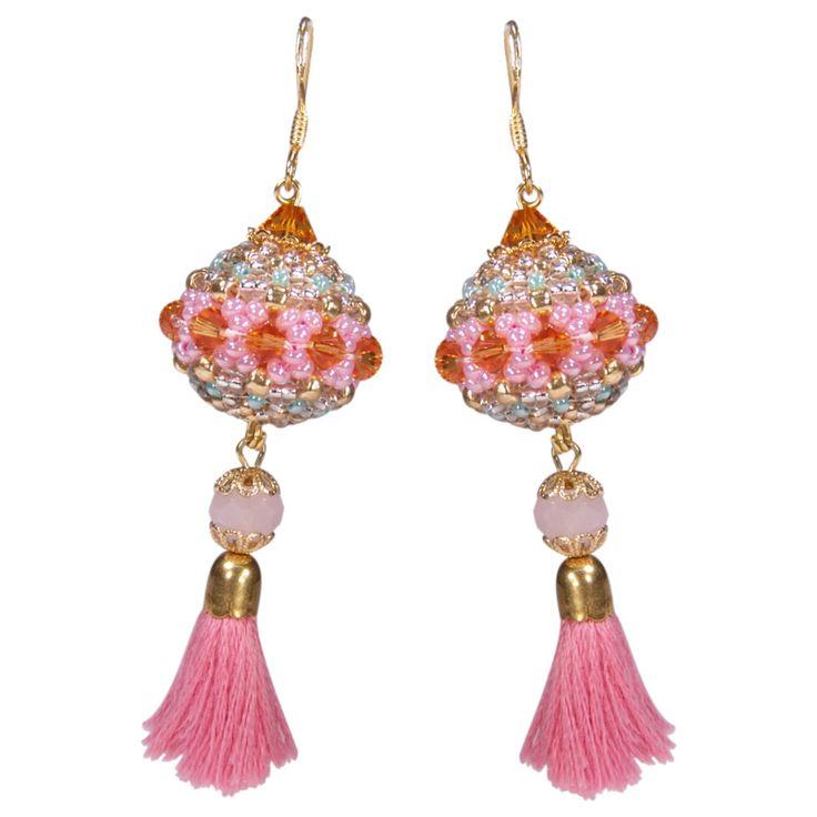 Rocailles-Ohrhänger mit Quaste in Pink   Perlotte Schmuck