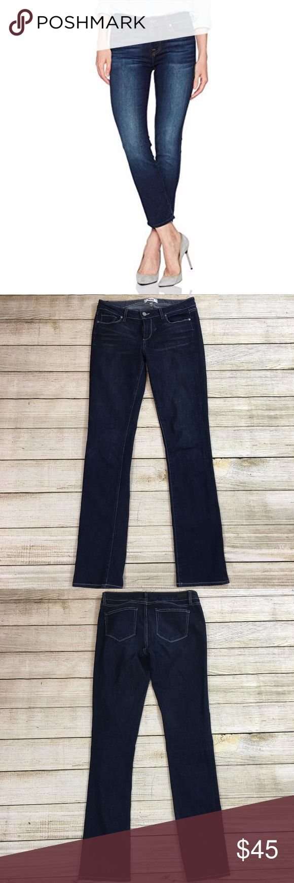 PAIGE Skyline Jeans Inseam: 33 inches Lay Flat Waist: 15 inches Lay Flat Leg Opening: 7 inches Rise: 8.5 inches Fabric: 69% cotton, 30% polyester, 1% elastane Description: like new condition  Bundle & Save: 10% off or more  NO TRADES Shipping within 24 hours Paige Jeans Jeans Straight Leg