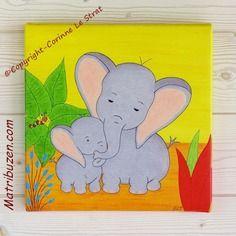 Tableau éléphants 30x30 cm - décoration chambre d'enfant et bébé, thème savane - cadeau naissance pour bébé