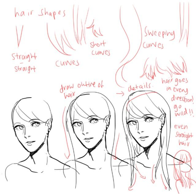 Straight Line Art Tutorial : Best hair references images on pinterest draw