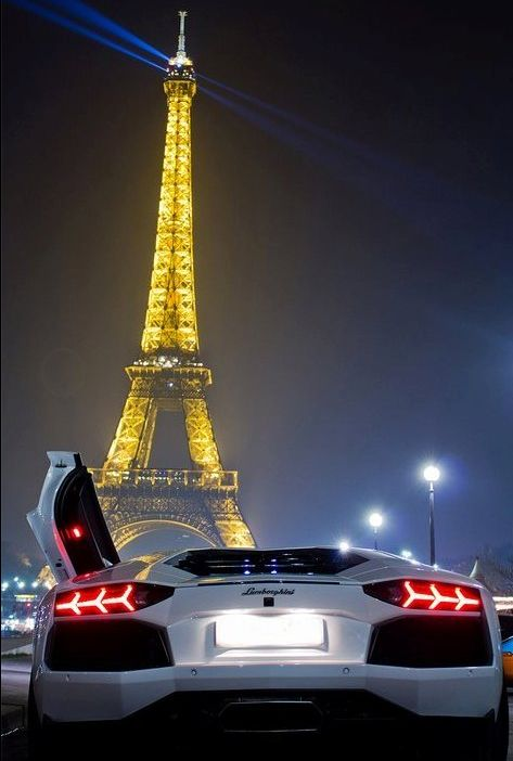 A Lamborghini in Paris. Seeing the city of lights in this car would be spectacular.
