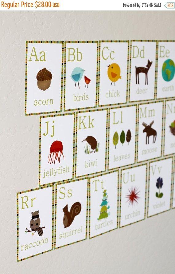 SALE 25% OFF Alphabet Wall Cards, 5x7, English, Nature Themed, Nursery Wall Art, Kid's Art Decor, Gender Neutral Nursery