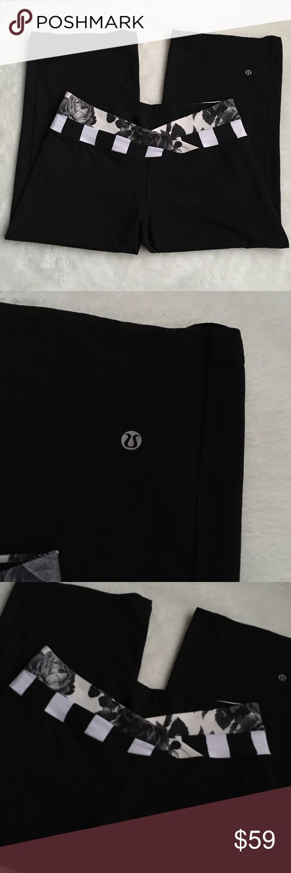 Lululemon Black Cropped Pants size 10 with roses Preowned authentic Lululemon Black Cropped Pants size 10 with roses. Please look at pictures for better reference. Happy shopping!! lululemon athletica Pants