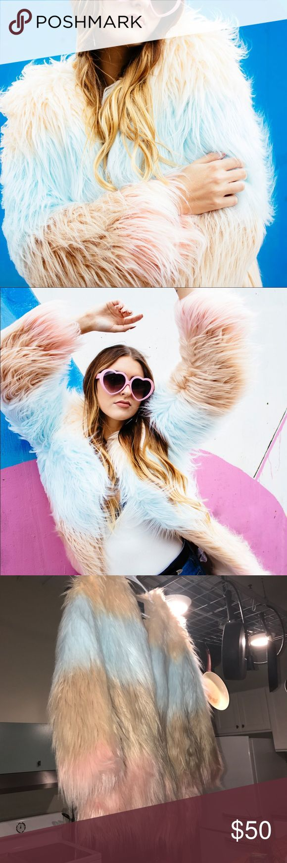NWT Ombré Pastel Fur Shag Coat Only worn for photoshoot! New with tags. Warm and cozy. sooo cute! Forever 21 Jackets & Coats