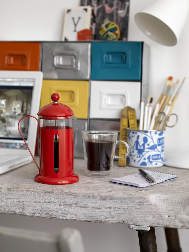 Contemporary red French Press coffee maker