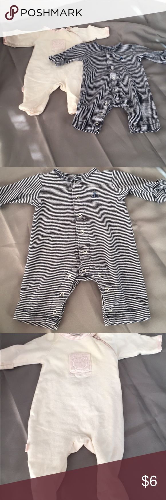 FREE w/ any 0-3 bundle - 2 Preemie Pajamas 2 Preemie pajamas. Free with any 0-3 month bundle. The off white one has a stain that is very faint. Please see pic. I understand preemies grow fast and these pjs will be out grown fast. That is why I'm hoping to bundle them for someone. The fit up to 7 lbs. Baby Gap and Kushies Baby One Pieces Bodysuits