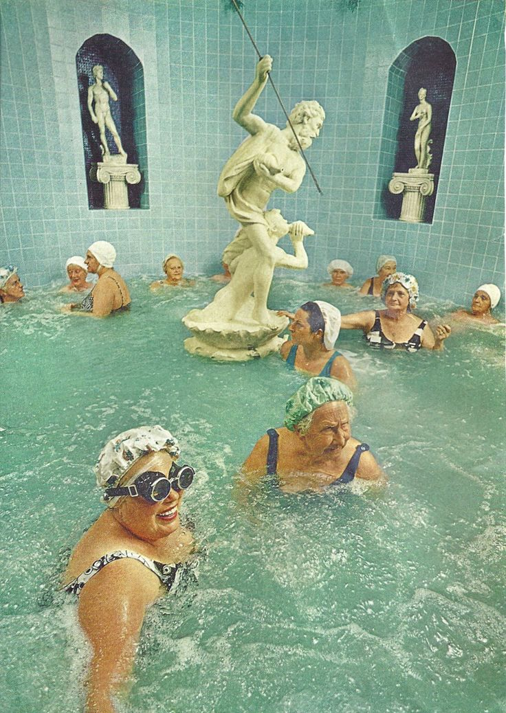 Women enjoy the benefits of a heated whirlpool, St Petersburg, Florida, 1973.  Jonathan S. Blair, vintage National Geographic