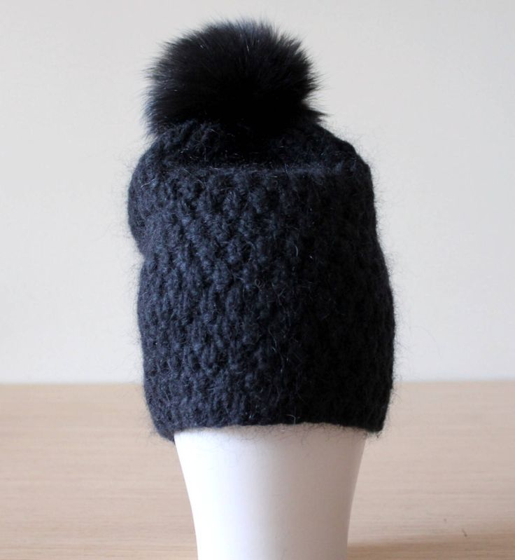 Excited to share the latest addition to my #etsy shop: Black fur pom pom hat, Chunky knit hat, Fur bobble hat, Mohair and cashmere hat, Pom pom hat, Black hat
