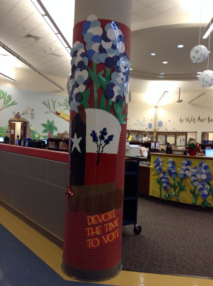 Column decorations for voting day. | Texas Bluebonnet ...
