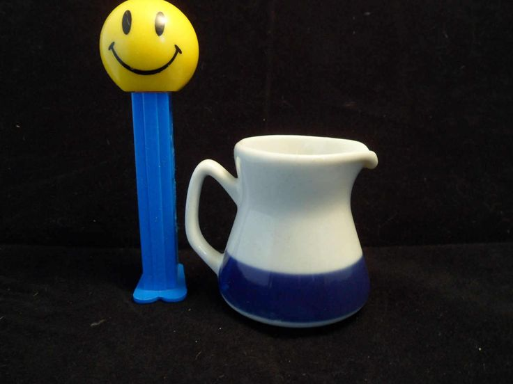 "Mini Porsgrund porcelain ceramic Individual creamer syrup jug pitcher 2"" Norway white blue stripe Scandinavian dinnerware Norwegian dishes by HeyIUsedToHaveThat on Etsy"