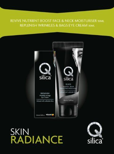 QSilica Skin Radiance Gift Pack by QSilica. $36.34. QSilica Skin Radiance Gift Pack QSilica Skin Radiance Gift Pack contains REVIVE Nutrient Boost Face and Neck Moisturiser 50ml and REPLENISH Wrinkle and Bags Eye Cream 30ml Qsilica REVIVE Nutrient Boost Face & Neck Moisturiser 50ml: (Valued at $24.95ea) Qsilica REVIVE Nutrient Boost Face & Neck Moisturiser is your everyday essential for day long hydration, this facial moisturiser delivers nutrients to boots skin's radiance and vi...