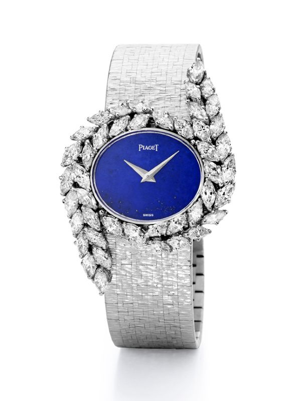 Watch in white gold, diamonds and lapis lazuli