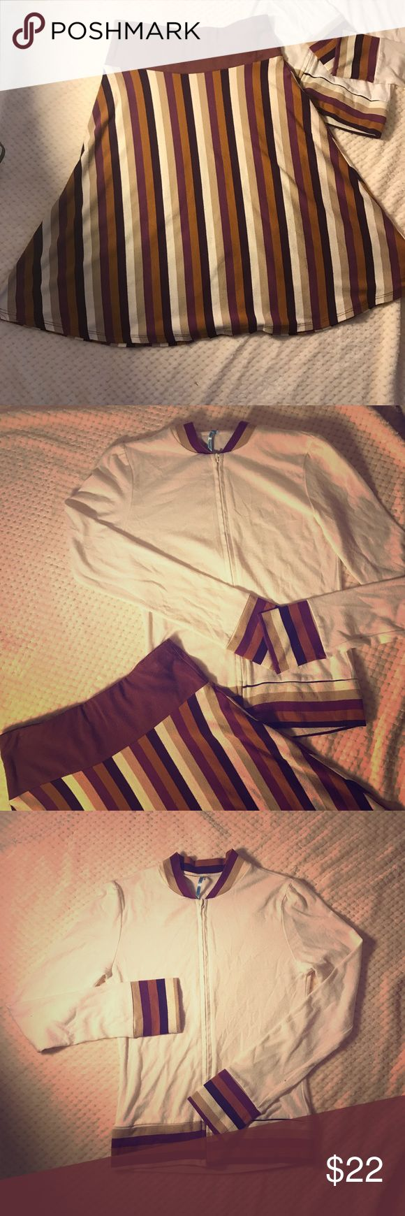Striped zip up top and skirt co-ord set Lightly worn but in great condition hot sauce Skirts Skirt Sets