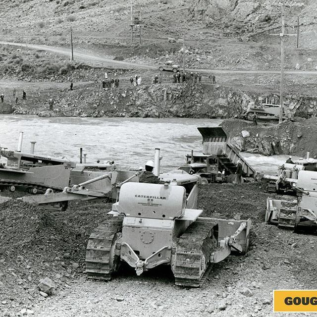 #ThrowbackThursday is a collection of #CatD9 & #CatD9 dozers working on the new #LakeBenmore #HydroelectricDam in the early 1960's
