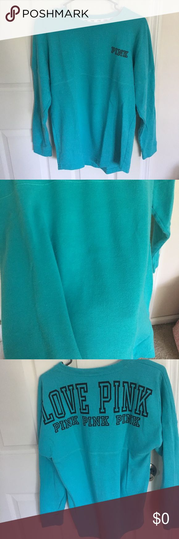 """On hold Teal shirt is a hood less sweatshirt basically. Too heavy to be a shirt but not technically a sweatshirt. Does have a small dark spot from fabric softener on front (in picture), but when you wear it it's not noticeable!! Grey workout/ """"dri fit"""" like material has no signs of wear, only missing drawstrings! PINK Victoria's Secret Tops Sweatshirts & Hoodies"""
