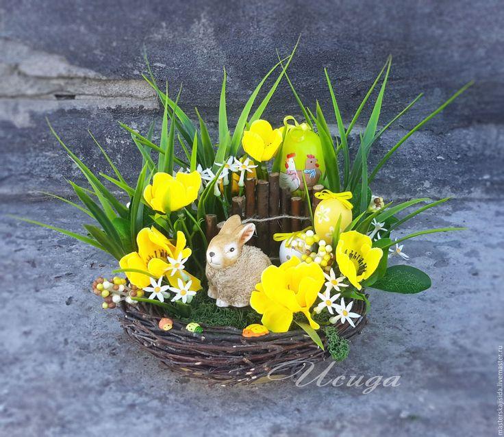 Купить Пасхальная композиция с кроликов. Желтая гамма. Пасха - Пасха, пасхальный заяц, Пасхальный кролик