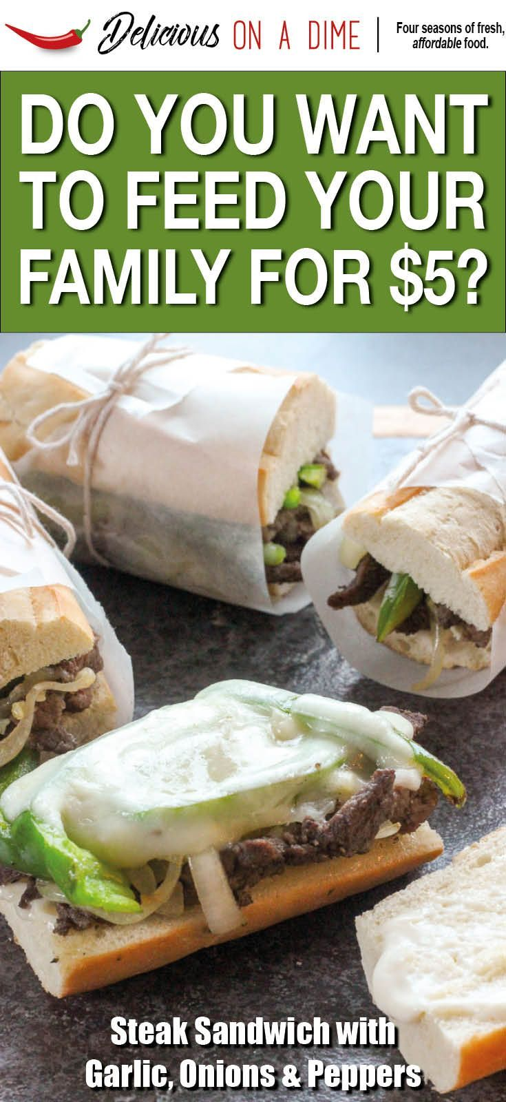 This Steak Sandwich Melt with Garlic, Onions and Peppers is easy enough for a fast weeknight dinner!  With melty cheese and zesty horseradish, it's a cheap and delicious treat!  It's one of our $5 Meals - the answer to your wish for groceries on a budget.  Easy recipes and simple tips mean that frugal meals can still be amazing!  Check out these recipes if you've ever wanted to save money on groceries! #savemoney #savemoneyongroceries #steak #sandwich #steaksandwich