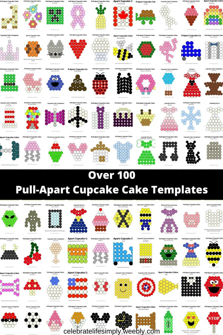 Over 100 Pull-Apart Cupcake Cake Templates