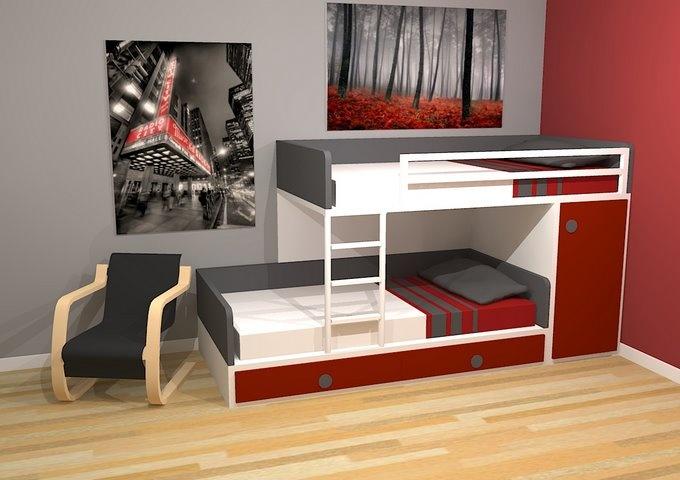Cama tren con baranda y cajones. - Dormitorios Juveniles Modernos