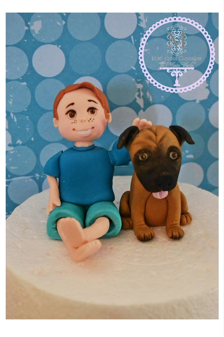 Personalized Topper Little Boy with his Dog