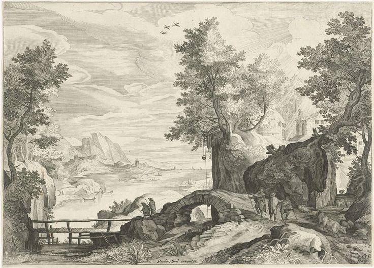 Rivierlandschap, Aegidius Sadeler, 1580 - 1629