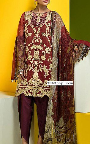 Maroon Net Suit | Buy Warda Pakistani Dresses and Clothing online in USA, UK